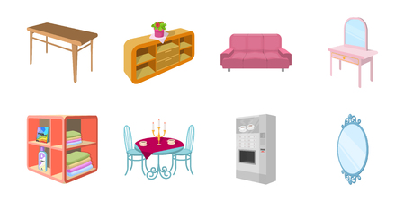 Furniture and interior icons in set collection for design. Home furnishings vector isometric symbol stock  illustration. Illustration