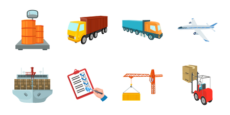 Logistics and delivery icons in set collection for design. Transport and equipment isometric vector symbol stock  illustration.