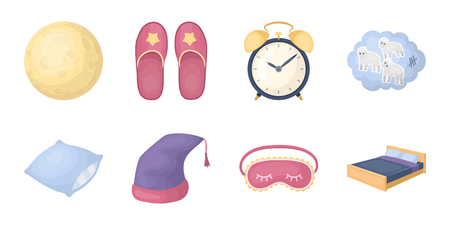 Rest and sleep icons in set collection for design. Accessories and comfort vector symbol stock web illustration.