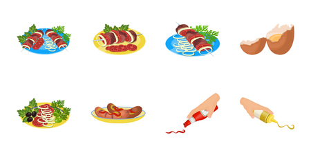 Cooking food icons in set collection for design. Kitchen, equipment and tools vector symbol stock  illustration. Illustration