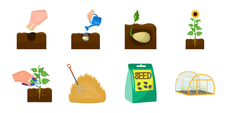 Farm and agriculture icons in set collection for design. Garden and plants vector symbol stock  illustration.