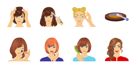 Care of hair and face icons in set collection for design. Perfumes and makeup vector symbol stock web illustration.