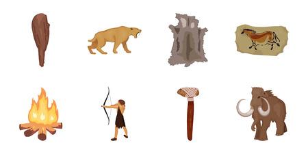 Leven in de steentijd pictogrammen in vastgestelde inzameling voor ontwerp. Oude mensen vector symbool voorraad web illustratie.