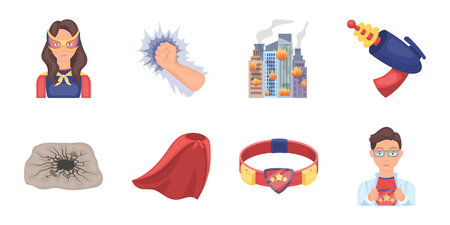 A fantastic superhero icons in set collection for design. Superheros equipment vector symbol stock web illustration.