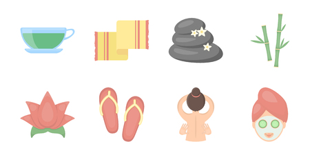 Spa salon, equipment icons in set collection for design. Relaxation and rest vector symbol stock web illustration. Illustration