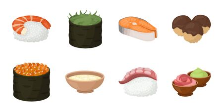 Sushi and seasoning icons in set collection for design. Seafood food, accessory vector symbol stock web illustration.