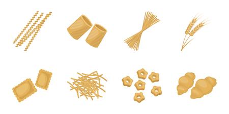 Types of pasta icons.