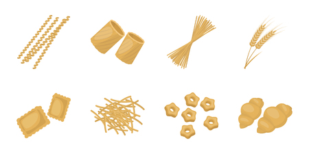 Types of pasta icons.