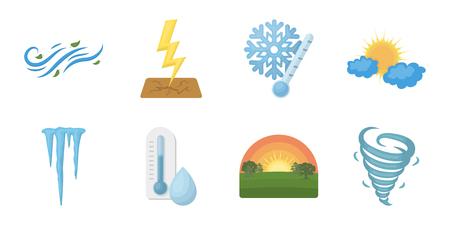 디자인에 대 한 설정된 컬렉션에서 다른 날씨 아이콘. 서명 및 날씨 벡터 기호의 특성 재고 그림입니다. 일러스트