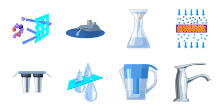 Water filtration system icons in set collection for design. Cleaning equipment vector symbol stock  illustration.