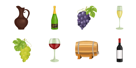 raw materials: Wine products icons in set collection for design. Equipment and production of wine vector symbol stock  illustration.