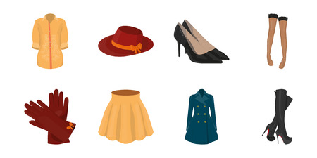 Womens Clothing icons in set collection for design.Clothing Varieties and Accessories vector symbol stock  illustration.