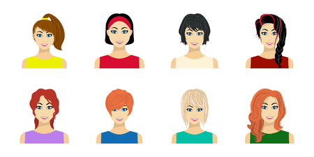 Types of female hairstyles icons in set collection for design. Appearance of a woman vector symbol stock  illustration. Illustration