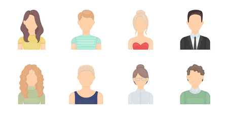 Avatar and face icons in set collection for design. A persons appearance vector symbol stock  illustration.