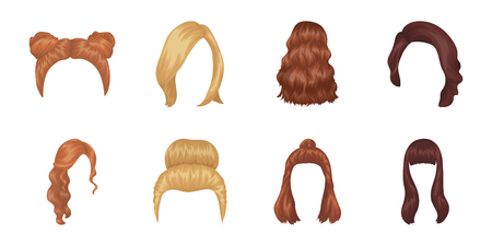 Female hairstyle icons in set collection for design. Stylish haircut vector symbol stock  illustration. Illustration