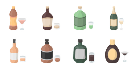Types of alcohol icons in set collection for design. Alcohol in bottles vector symbol stock  illustration. Çizim