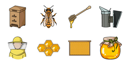 Apiary and beekeeping icons in set collection for design. Equipment and production of honey vector symbol stock  illustration. Illustration
