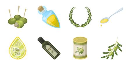 Olive, food icons in set collection for design. Olive oil, seasoning vector symbol stock  illustration. Illustration