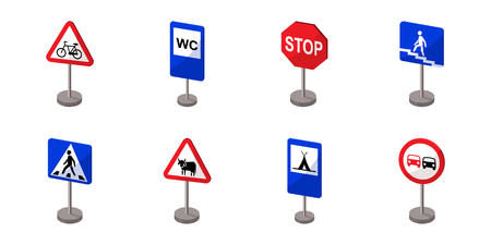Different types of road signs icons in set collection for design. Warning and prohibition vector symbol stock  illustration. Illustration