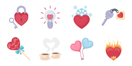 Romantic relationship icons in set collection for design. Love and friendship vector symbol stock  illustration.