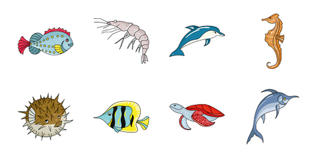 A variety of marine animals icons set collection Çizim