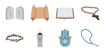 Religion and belief icons in set collection for design. Accessories, prayer vector symbol stock  illustration.