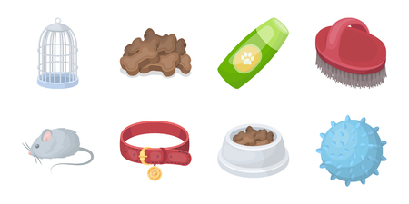 Pet shop icons in set collection for design.The goods for animals vector symbol stock  illustration.
