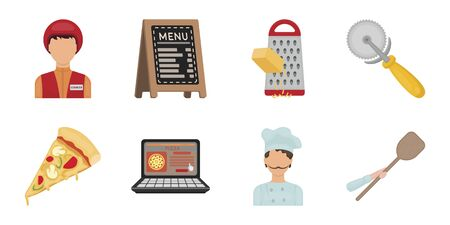 Pizza and pizzeria icons in set collection for design. Staff and equipment vector symbol stock  illustration. Çizim