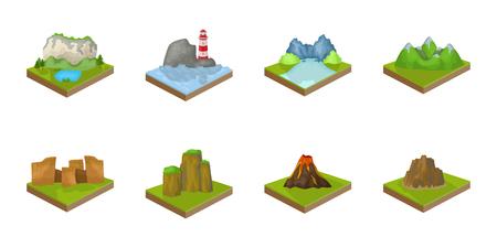 산, 디자인에 대 한 설정 컬렉션에서 대규모 아이콘. 지구 벡터 아이소 메트릭 기호 주식 그림의 표면. 일러스트