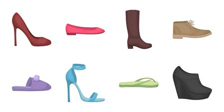 Una varietà di icone di scarpe nella collezione di set per il design. Lo stivale, scarpe da tennis vector l'illustrazione di riserva di simbolo.