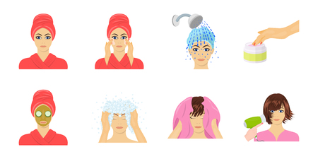 Care of hair and face icons in set collection for design. Perfumes and makeup vector symbol stock  illustration. Illustration
