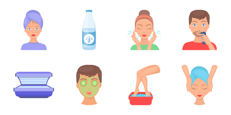 Skin care icons in set collection for design. Face and body vector symbol stock  illustration.