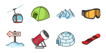 Ski resort and equipment icons in set collection for design. Entertainment and recreation vector symbol stock  illustration. Illustration