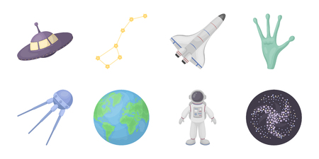Space technology icons in set collection for design.Spacecraft and equipment vector symbol stock  illustration.