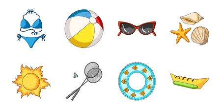 swimming glasses: Summer rest icons in set collection for design. Beach Accessory vector symbol stock  illustration.