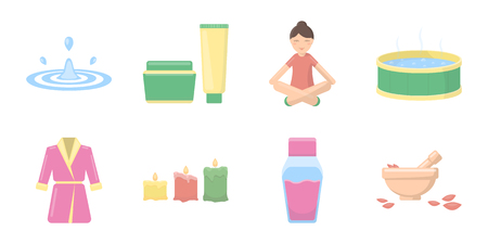 swimming candles: Spa salon, equipment icons in set collection for design. Relaxation and rest vector symbol stock  illustration.