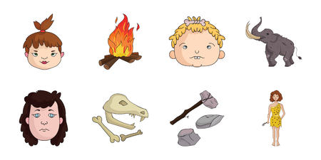 Life in the Stone Age icons in set collection for design. Ancient people vector symbol stock  illustration.