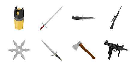 Types of weapons icons in set collection for design. Firearms and bladed weapons vector symbol stock  illustration.