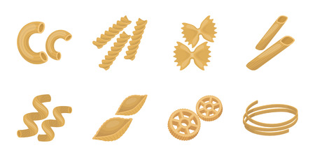 Types of pasta icons in set collection for design. Figured macaroni for eating vector symbol stock  illustration.