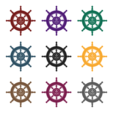 ruder: Wooden ship steering wheel icon in black style isolated on white background. Pirates symbol vector illustration. Illustration