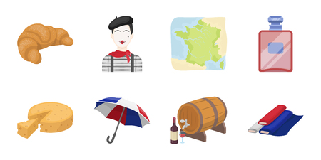 Country France icons in set collection for design. France and landmark vector symbol stock web illustration. Illustration