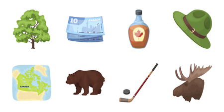 ranger: Country Canada icons in set collection for design. Canada and landmark vector symbol stock web illustration.
