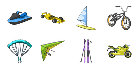 Extreme sport icons in set collection for design.Different kinds of sports vector symbol stock web illustration.