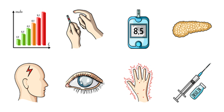 Diabetes icons in set collection for design. Treatment of diabetes vector symbol stock web illustration.