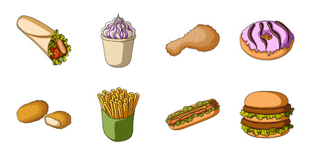 Fast food icons in set collection for design.Food from semi-finished products vector symbol stock web illustration.