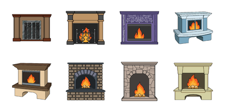 Different kinds of fireplaces icons in set collection for design.Fireplaces construction vector symbol stock web illustration.