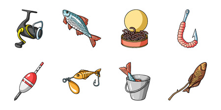 Fishing and rest icons in set collection for design. Tackle for fishing vector symbol stock web illustration.
