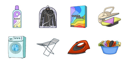 Dry cleaning equipment icons in set collection for design. Washing and ironing clothes vector symbol stock web illustration.