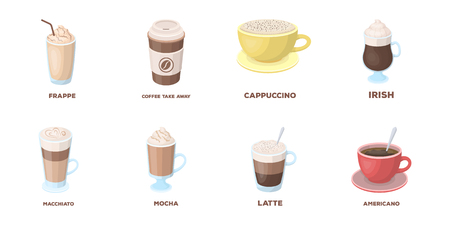 Different kinds of coffee icons in set collection for design. Coffee drink vector symbol stock web illustration.