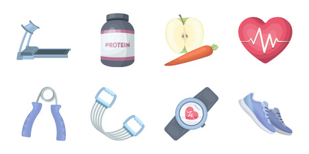 Gym and training icons in set collection for design. Gym and equipment vector symbol stock web illustration.